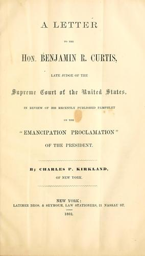 Download A letter to the Hon. Benjamin R. Curtis, late judge of the Supreme court of the United States