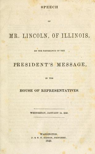 Speech of Mr. Lincoln, of Illinois by Abraham Lincoln